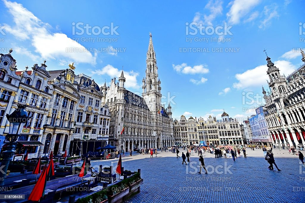 Wide angle shot with Grand Place of Brussels stock photo