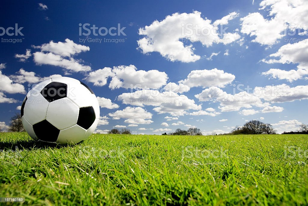 Wide angle soccer ball stock photo