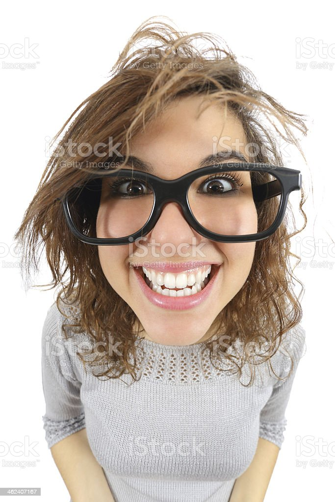 Wide angle view of a geek woman with glasses smiling stock photo