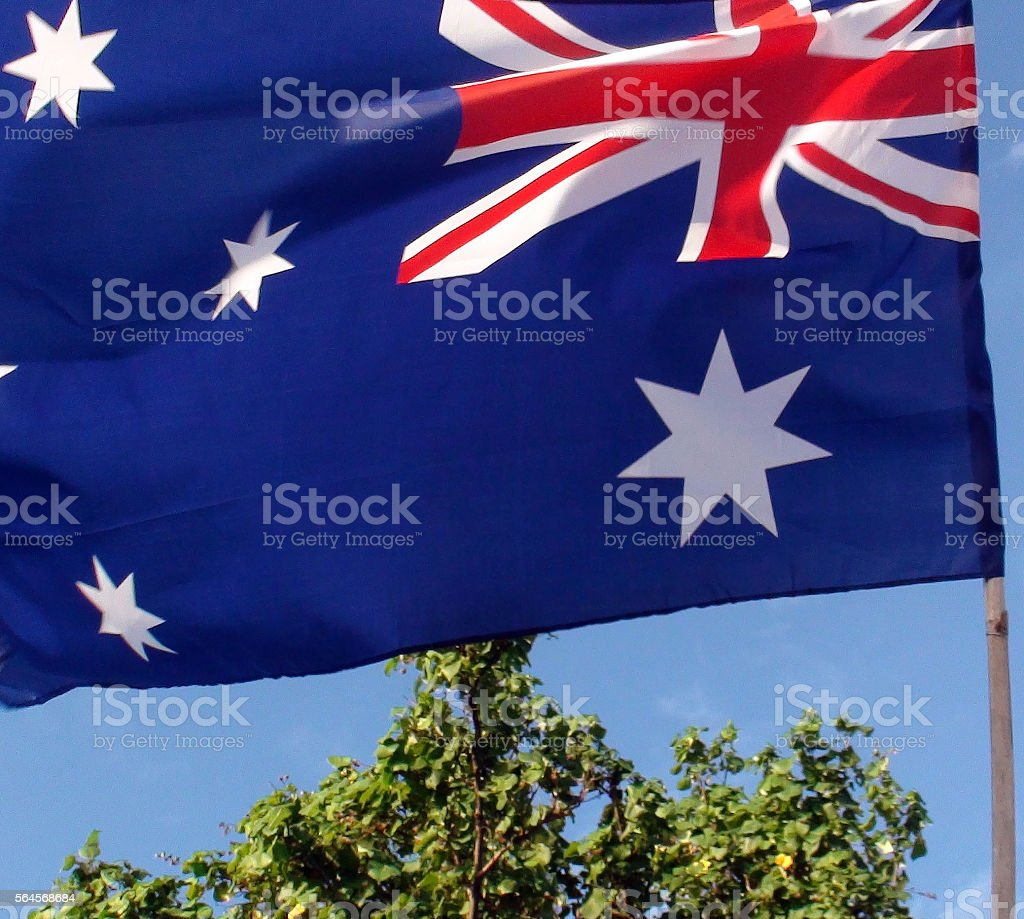 Wide Angle View Of Australian Flag And Sky stock photo