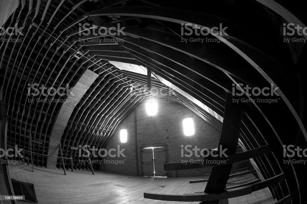 Wide Angle View of Barn Interior, Black and White royalty-free stock photo