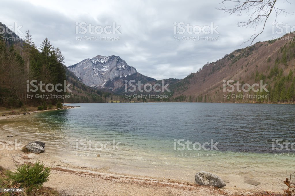 Wide angle view of beautiful colorful lake stock photo