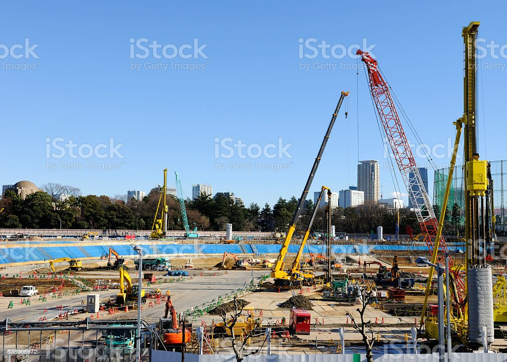 Wide angle view of big construction site against clear sky stock photo