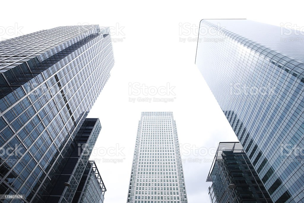 Wide angle view of Canary Wharf royalty-free stock photo