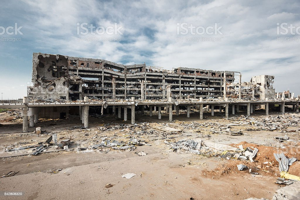 Wide angle view of donetsk airport ruins stock photo
