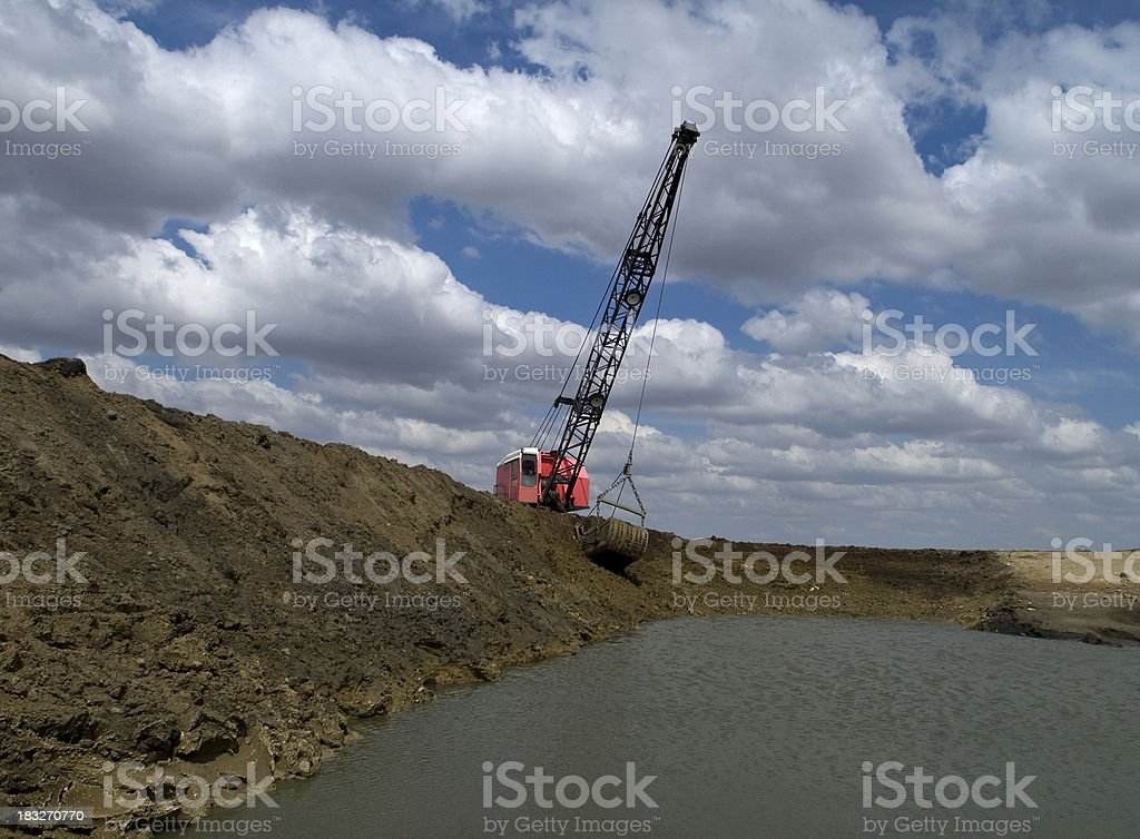 wide angle view of dragline work royalty-free stock photo