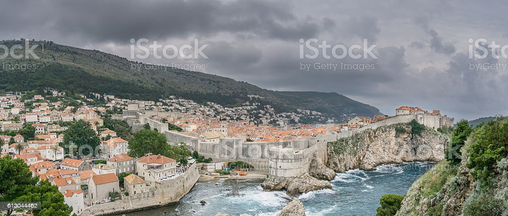 Wide Angle View of Dubrovnik with Storm stock photo