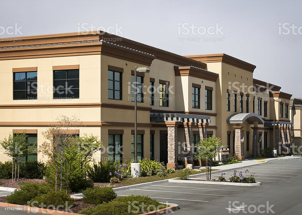 Wide angle view of modern office park building stock photo