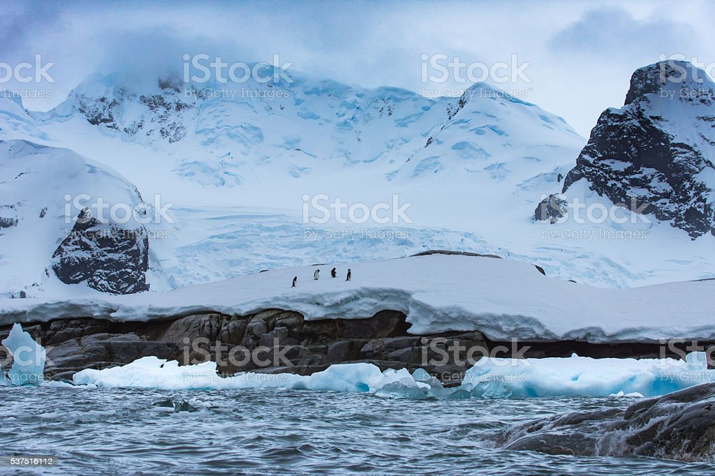 Wide angle view of mountain scenery in Antarctica stock photo