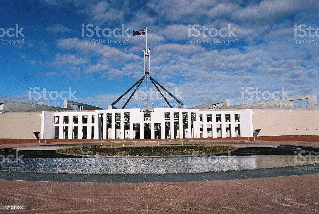 Wide angle view of Parliament House Canberra stock photo
