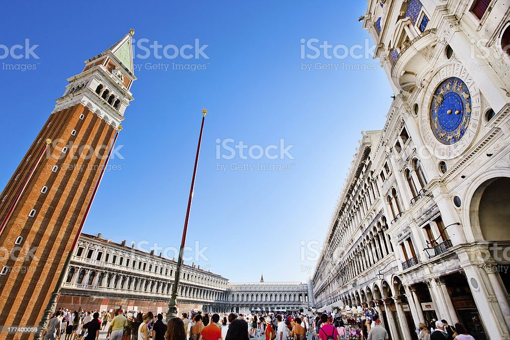 'Wide angle view of Piazza San Marco in Venice, Italy' stock photo