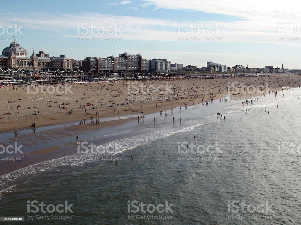 Wide Angle View Of Scheveningen Beach Resort In The Hague stock photo
