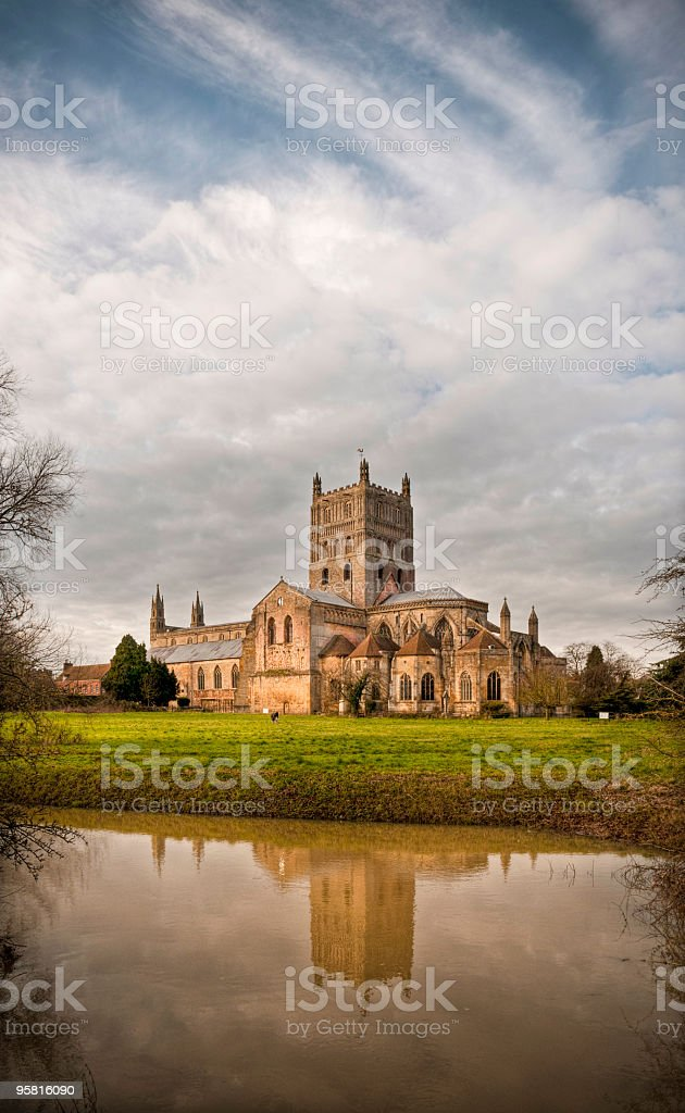 HDR wide angle view of Tewkesbury Abbey, Gloucestershire, UK stock photo