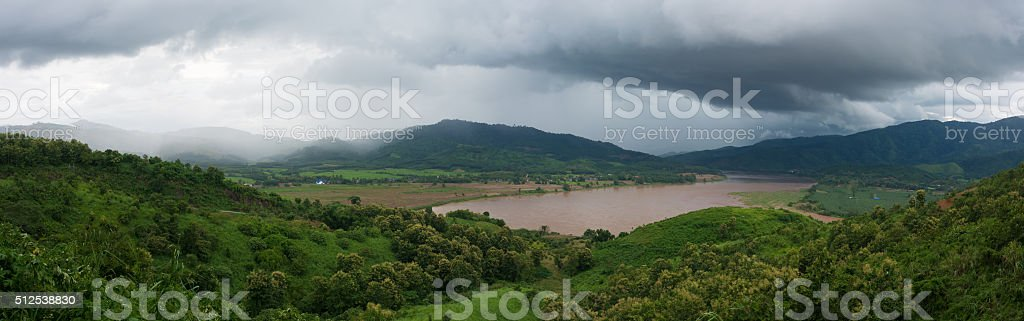 Wide angle view point At Chiang Rai,Thailand stock photo