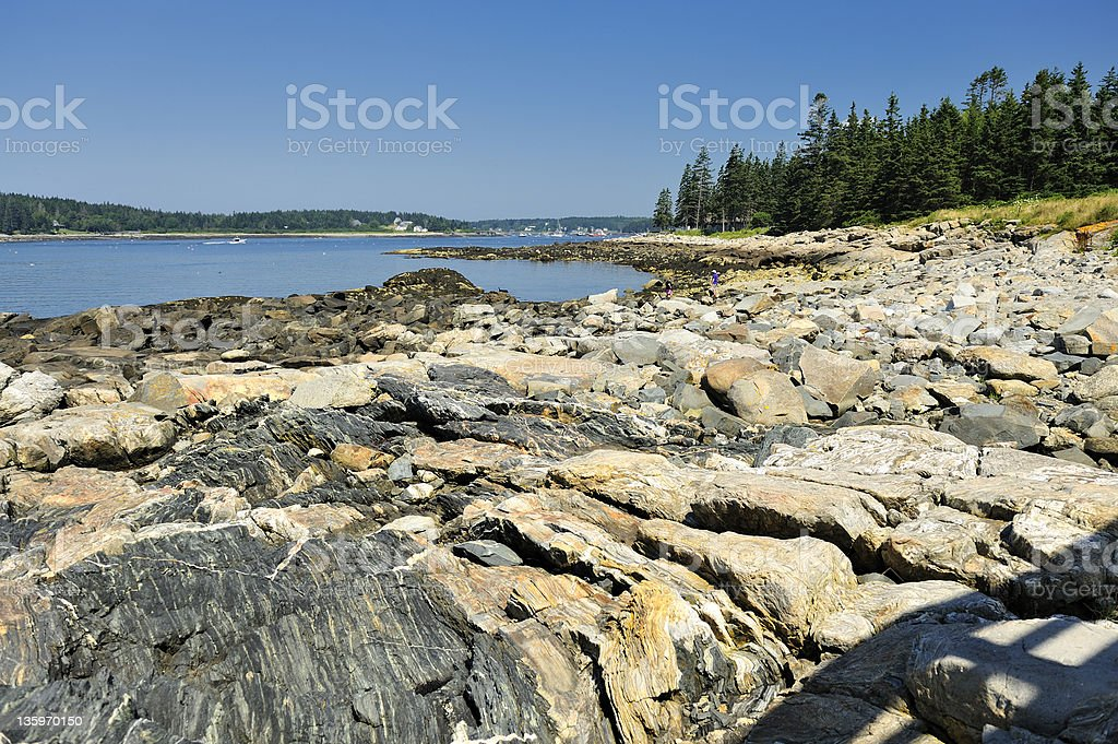 Wide angle view rock outcrop and Penobscot Bay, Maine, USA royalty-free stock photo