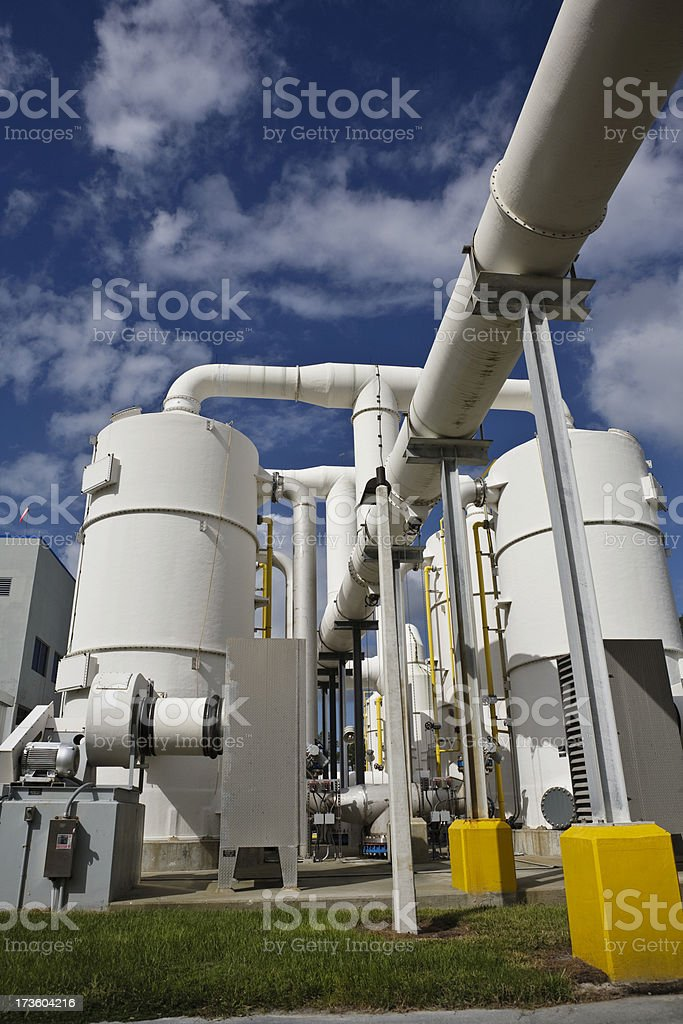 Wide Angle Water Purification Plant  With Towers and Transfer Pipes royalty-free stock photo
