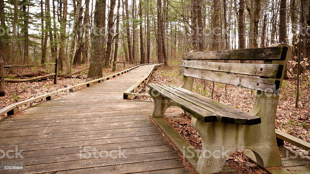 Wide Angled Bench With Walkway stock photo