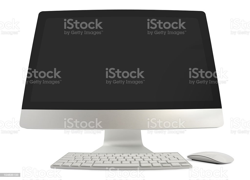 Wide Angled Computer With Keyboard And Mouse stock photo