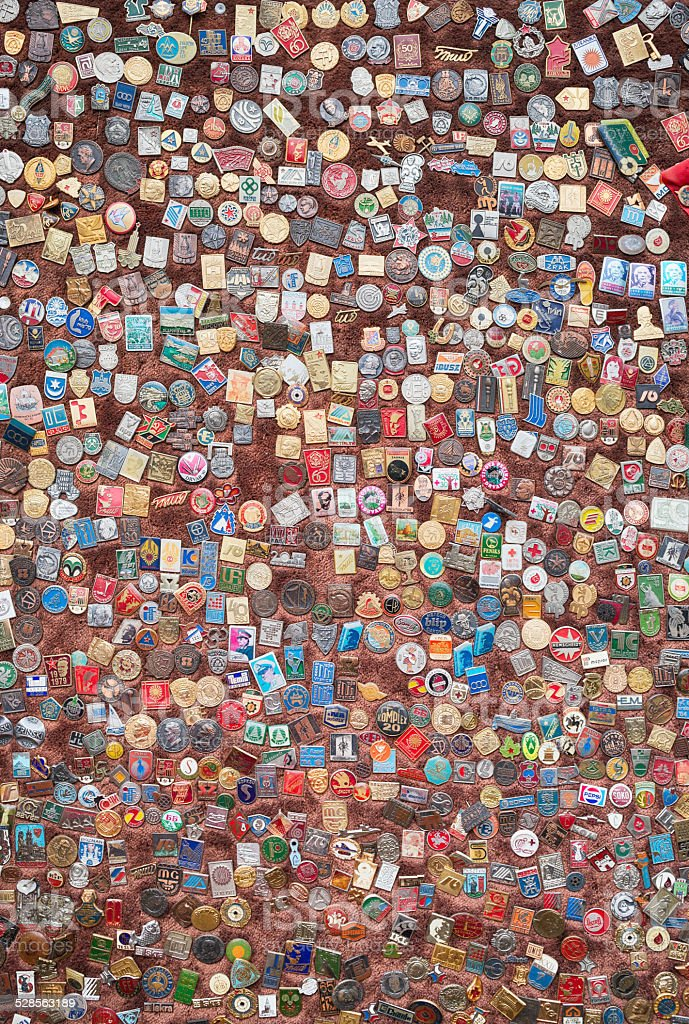 Wide array of kinds of badges dating from old times stock photo