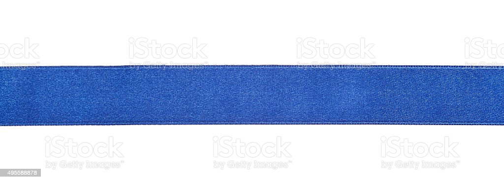 wide blue satin ribbon isolated on white stock photo
