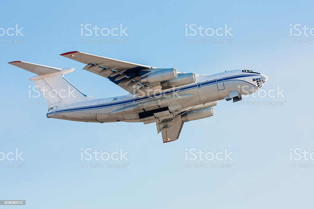 Wide body cargo plane in the air royalty-free stock photo