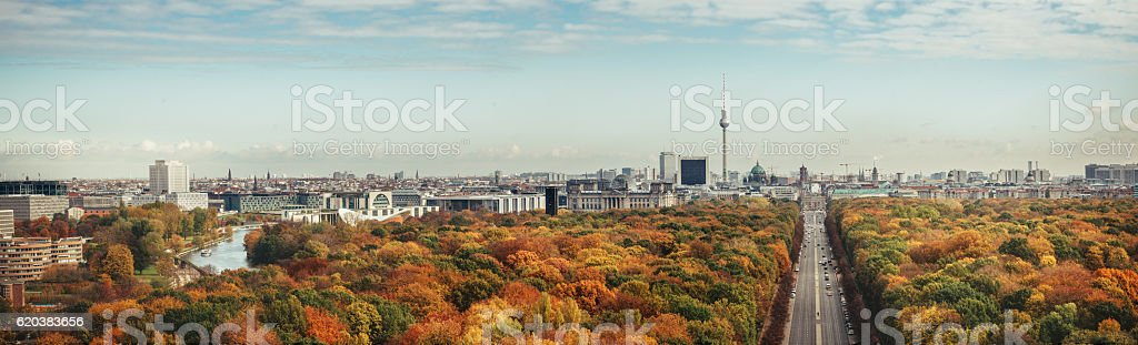 wide colorful autumn Berlin cityscape panorama from victory column stock photo
