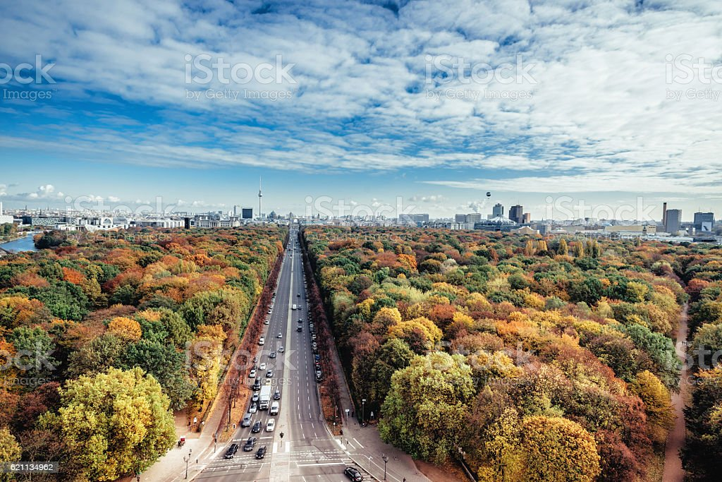 wide colorful autumn Berlin cityscape seen from victory column stock photo