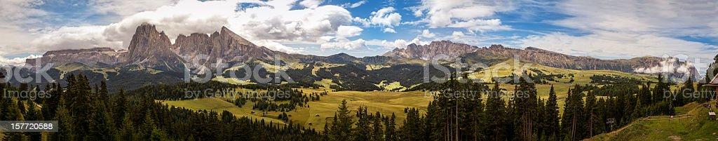 Wide Dolomites Landscape: Catinaccio, Sassolungo from Siusi Highland stock photo