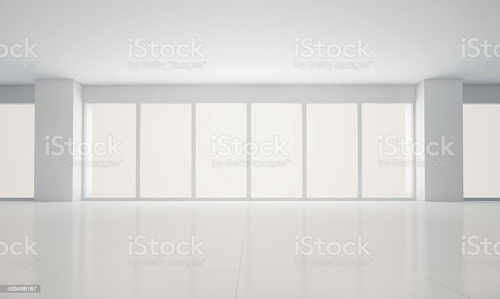 Wide empty hall, clean interior, with big windows. stock photo