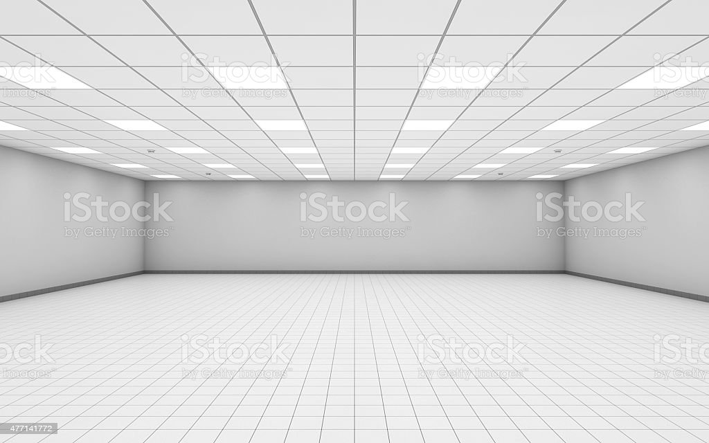 Wide empty office room interior with white walls 3 d stock photo