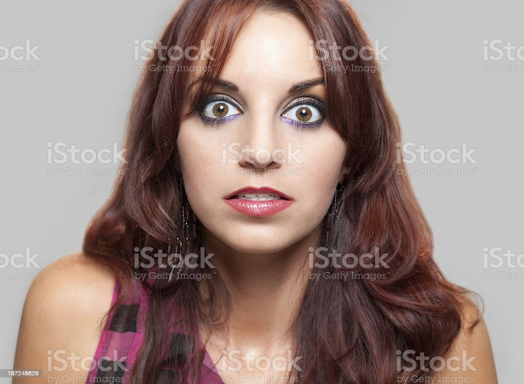 Wide Eyed Woman royalty-free stock photo
