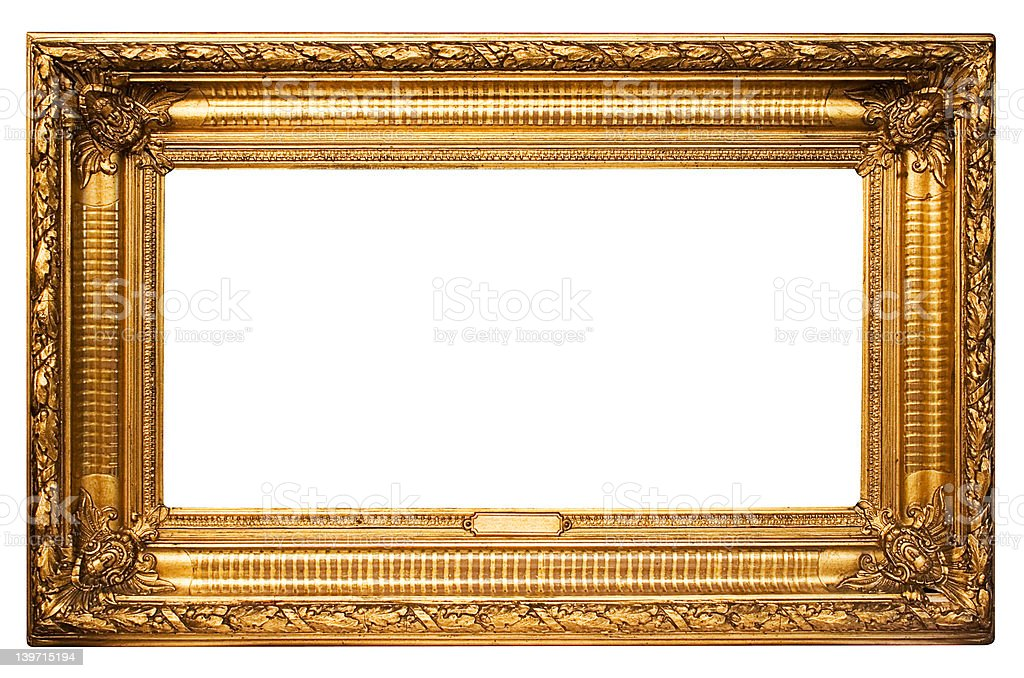 Wide Golden Picture Frame w/ Path stock photo