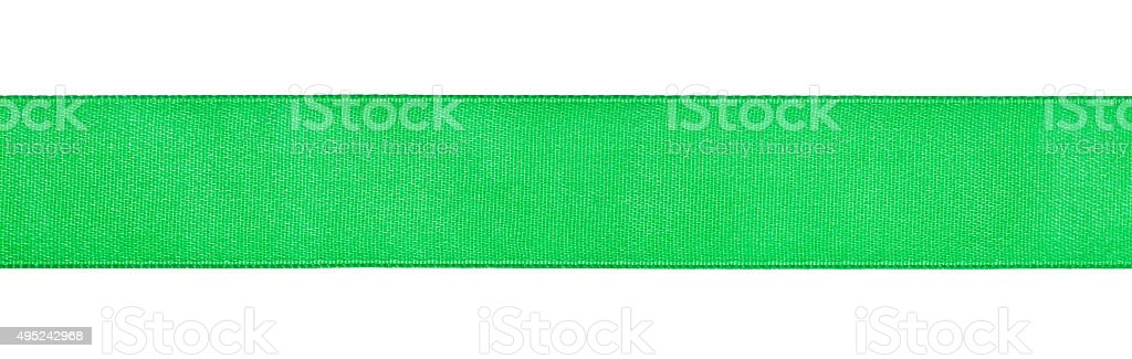 wide green satin ribbon isolated on white stock photo