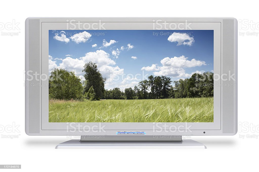 Wide HD LCD TV (with screen and clipping path) stock photo
