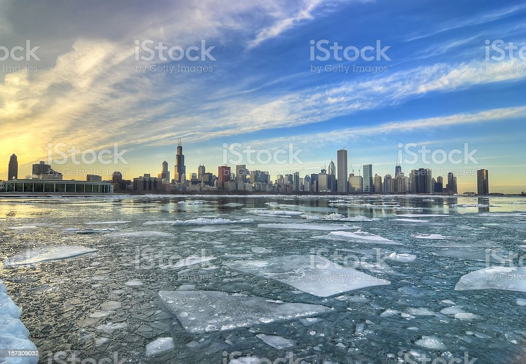 Wide Icy View of Chicago Skyline stock photo