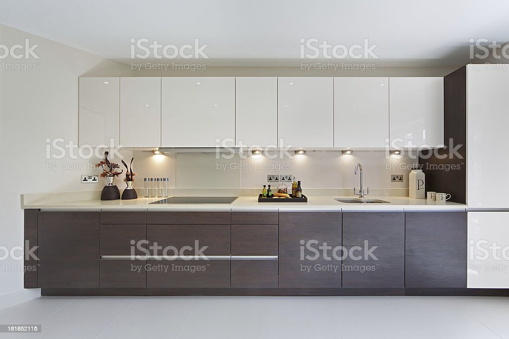 wide kitchen unit stock photo