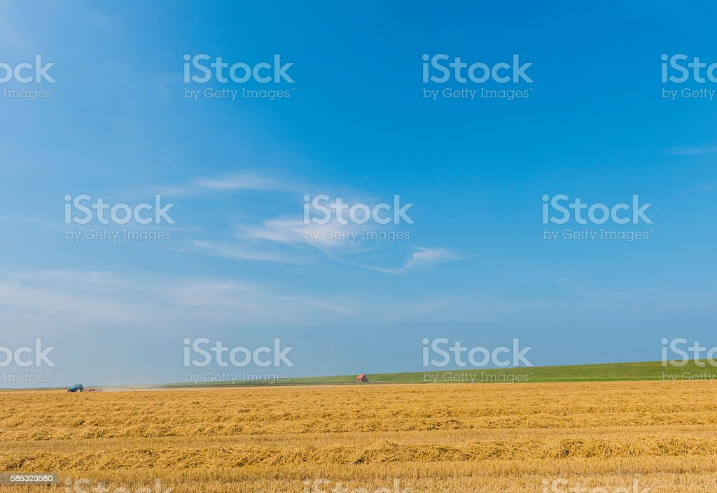 Wide Landscape with House stock photo