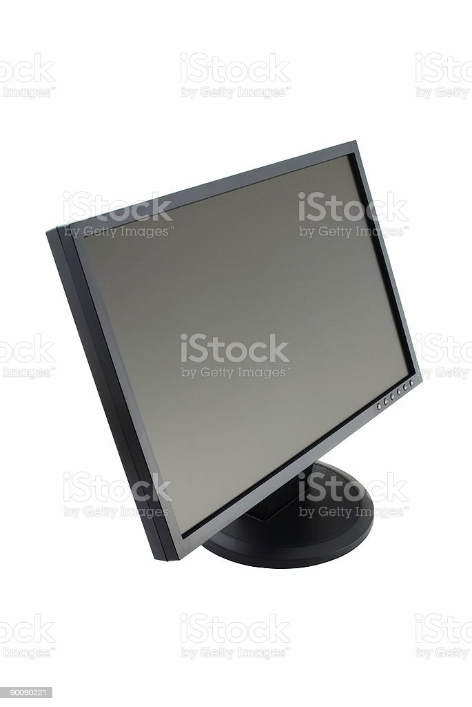 Wide LCD computer monitor stock photo