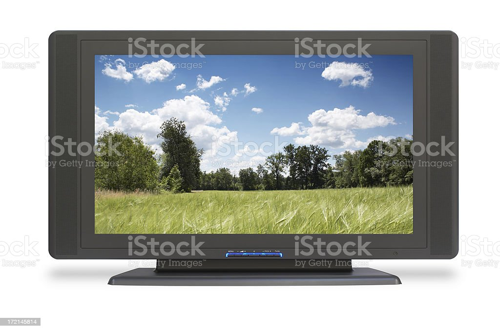 Wide LCD HD TV (screen and clipping path), isolated stock photo
