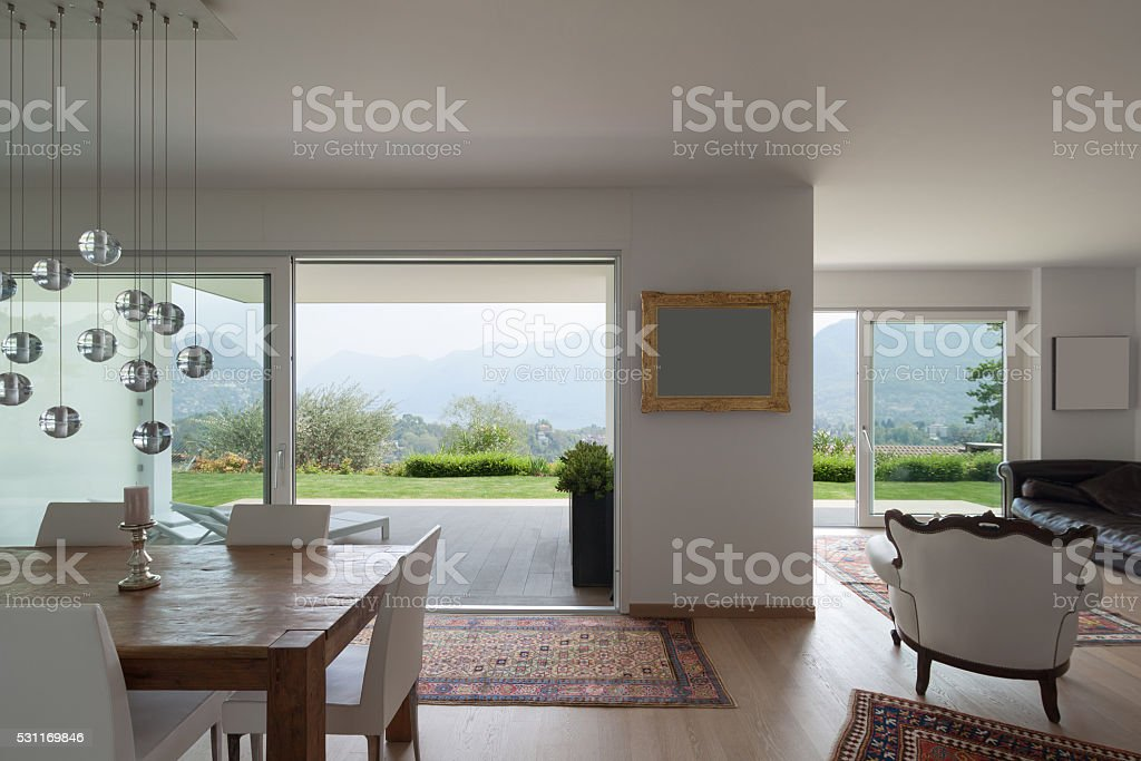 Wide living room of apartment stock photo