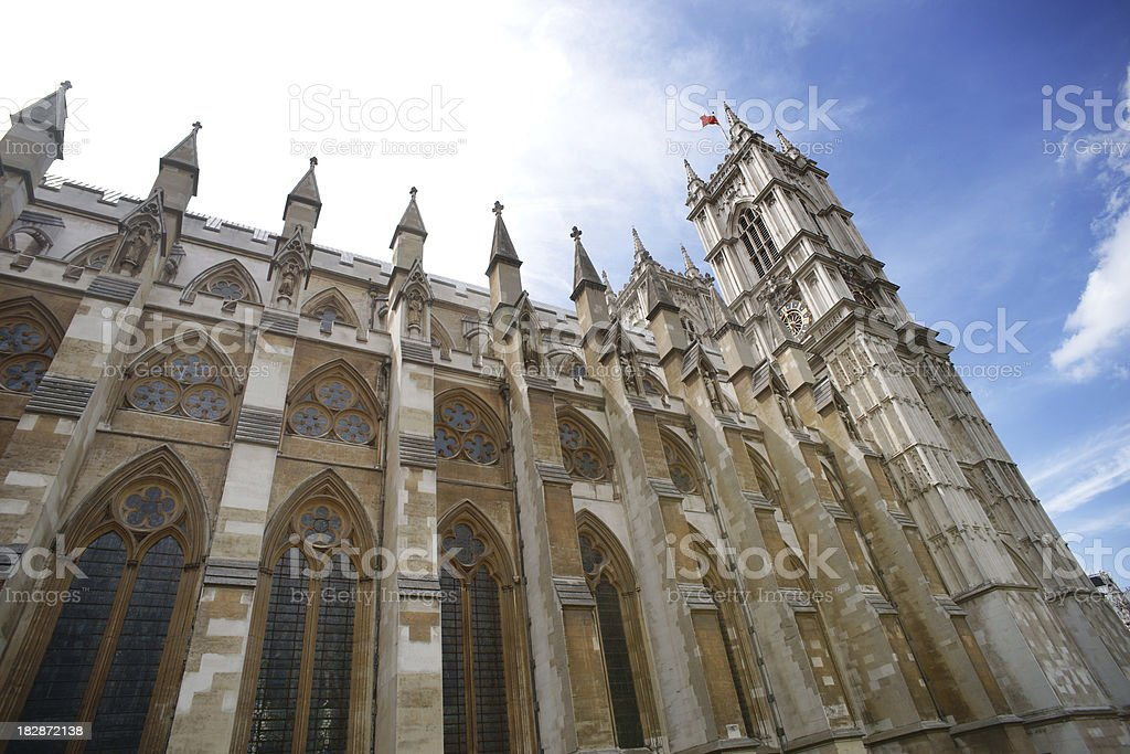 Wide low angle view of Westminster Abbey royalty-free stock photo
