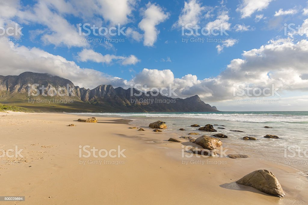 Wide open beach at Kogel Bay stock photo