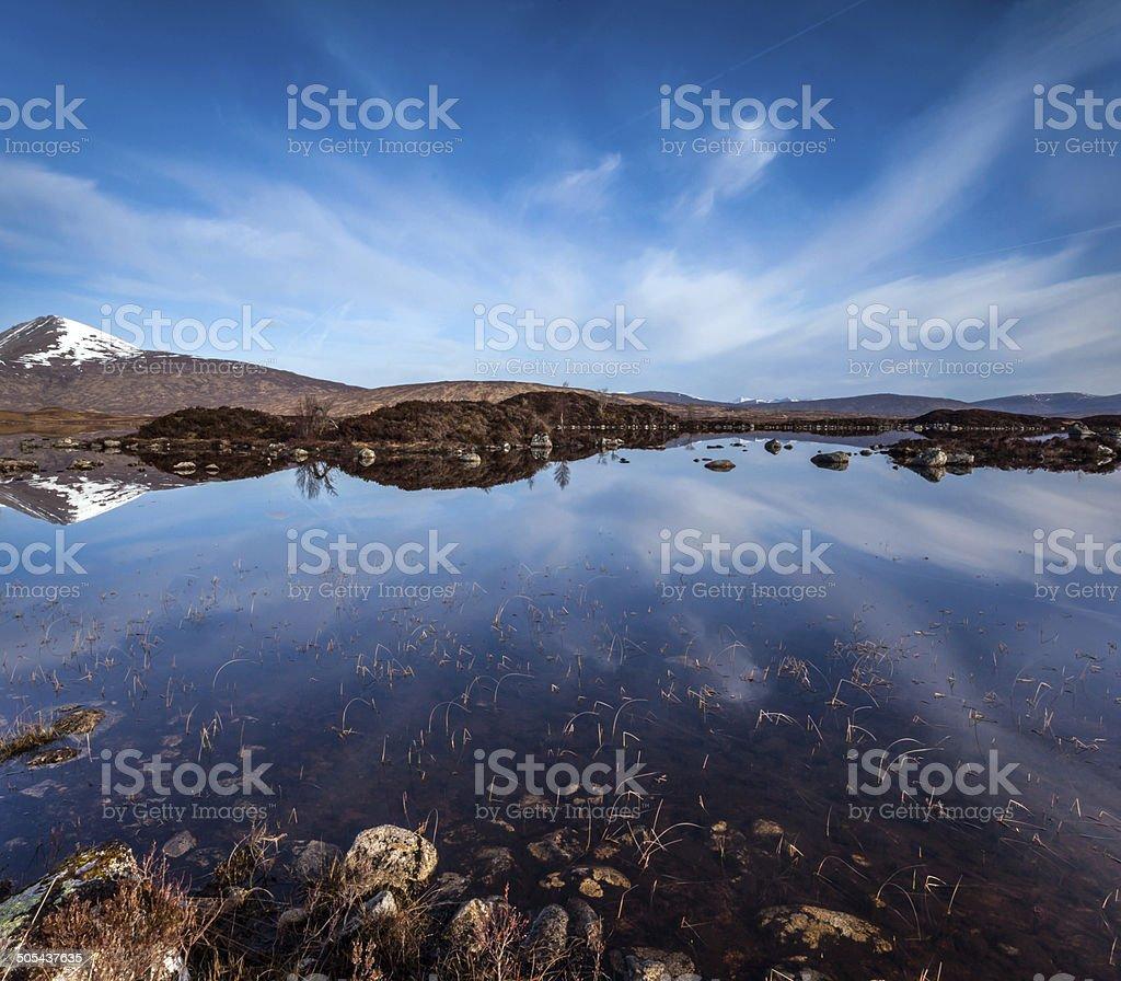 Wide open space of Rannoch Moor, stock photo