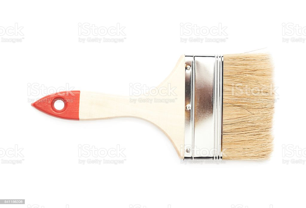 Wide paint brush isolated stock photo