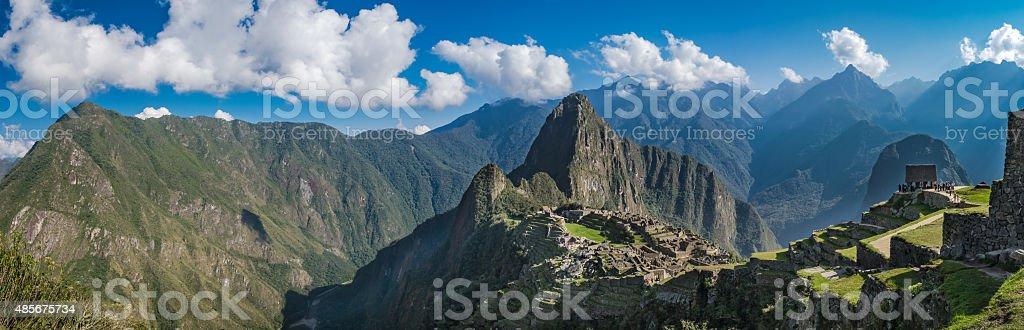 wide panarama of Machu Picchu, Peru stock photo