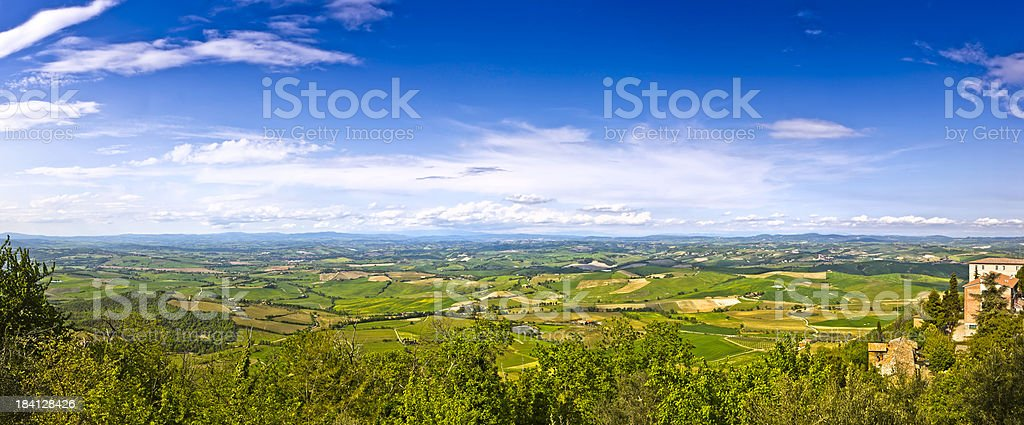 Wide Panorama Landscape of Tuscany, UNESCO World Heritage Site royalty-free stock photo
