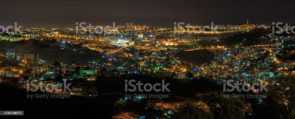 Wide panorama of Jerusalem at night stock photo