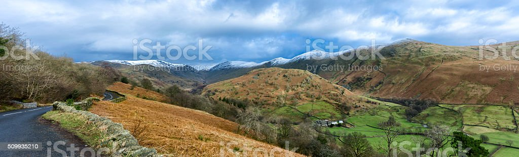 Wide Panorama Of Mountain Valley With Snow On Peaks. stock photo