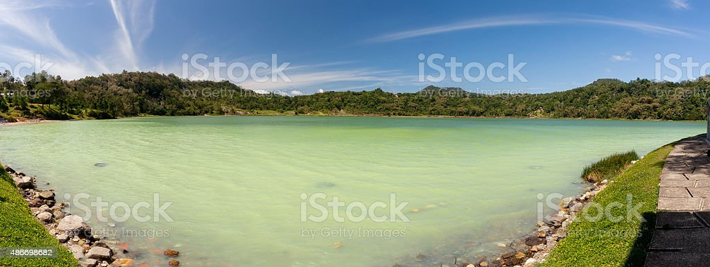 wide panorama of sulphurous lake - danau linow indonesia stock photo