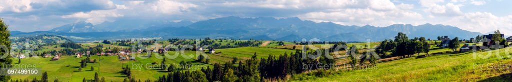 Wide panorama of the Tatras and Podhale. stock photo